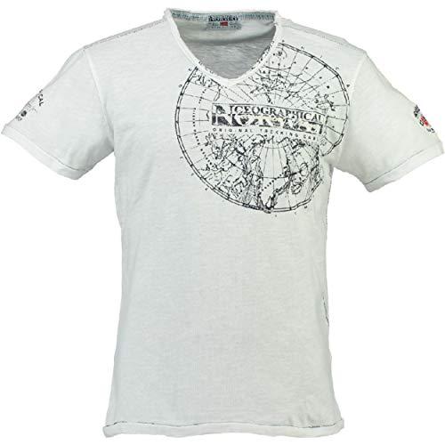 Geographical Norway JIMPERABLE MEN - Grafik T-Shirt Kurzarm Manner - Tee Shirt V-Ausschnitt Bedruckte Stickerei - Casual Look Marke Basic Tops WEISS M
