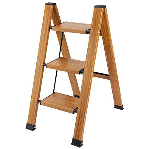Synlyn Taburete Escalera Plegable 3 Peldaños Escalera Doméstica de 3 Peldaños Antideslizante, Taburete Plegable de Cocina de 3 Escalones, Escalerilla de Aluminio Escalera 3 Peldaños Aluminio