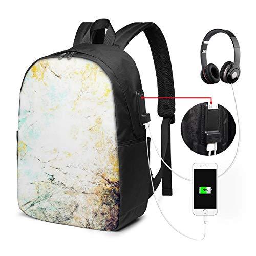 Schulrucksack Mit USB Port Jungen Mädchen Teenager, Rucksack Schule Laptop Rucksack für Herren Damen Daypacks für 15,6 Zoll Laptop Rucksack Effektfarbe futuristisch
