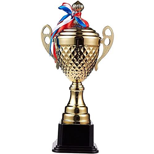 Juvale Large Trophy Cup for Sport Tournaments, Competitions (Gold,7.5 x 15.2 x 5 in)
