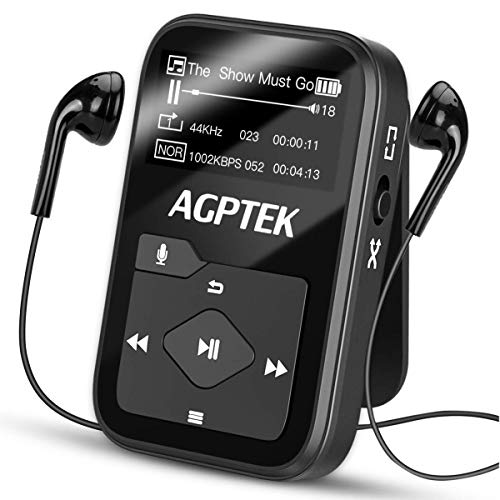 Clip MP3 Player with Bluetooth,16GB Mini Sport Music Player with Headphones, FM Radio,Voice Recorder, TF up to 128GB by AGPTEK