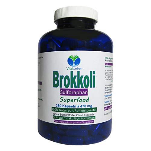 BROKKOLI Broccoli natürliches Sulforaphan & Indol-3-Carbinol - 360 Kapseln - Antioxidantien & Vitamine C E K, B-Komplex + Calcium Magnesium Eisen Zink Kalium - OHNE ZUSATZSTOFFE. 26820-360