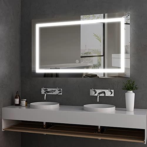 Badspiegel Lichtspiegel 100 x 60 cm LED Spiegel Wandspiegel mit Beleuchtung Kaltweiß Lichtspiegel mit Touchschalter IP44 Energiesparend