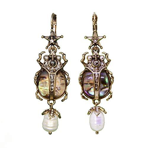 Orecchini pendenti con perle di Skarabemo, pezzo unico, madreperla egiziana, teschio con strass