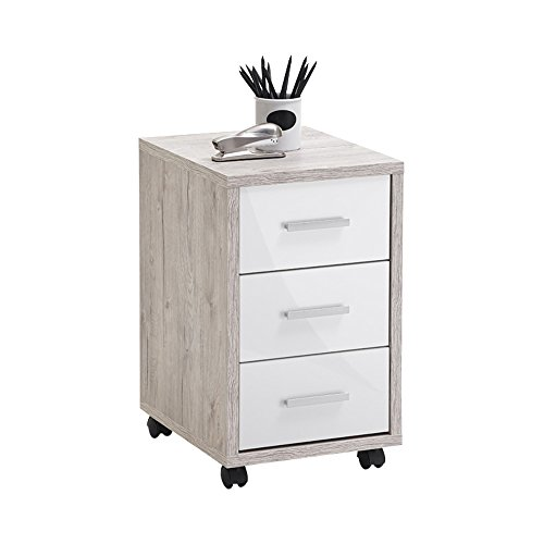 FMD furniture Roll Container, clamping plate, Sand Oak/high-Gloss White, ca. 35 x 53,6 x 42 cm