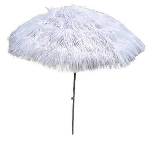 Parasol Parapluie Doux de Plage Blanc de 1,8 m, Parapluie portatif de de Pompon de Voyage, Comprend des poteaux télescopiques, Protection Solaire UV