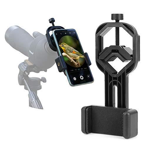 Staffa nera per telefono cellulare per binocoli Monoculari Telescopi astronomici Adattatore universale per telefono microscopio Supporto per telefono Supporto per telefono cellulare da 5 cm a 9 cm