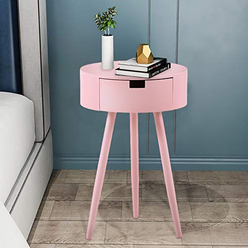 GOLDFAN Modern Wooden Bedroom Bedside Table Night Stand Living Room Coffee Table Side Table With Drawer,Pink