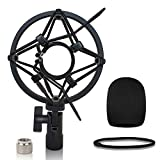 AT2020 Shock Mount with Foam Windscreen - Pop Filter with Microphone Shockmount for AT2020/AT2020USB+/ AT2020USBi/AT2035/AT2050 Condenser Mic by Boseen