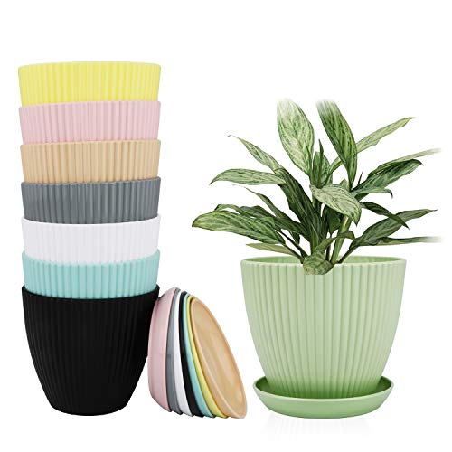 Flower Pots Ufrount 6 Inches Plastic Vertical Stripes Planters Household Plant Pots Gardening Containers Flower/ Succulents Planters Perfect for Indoor amp Outdoor Decoration 8 PCS 8 Colors