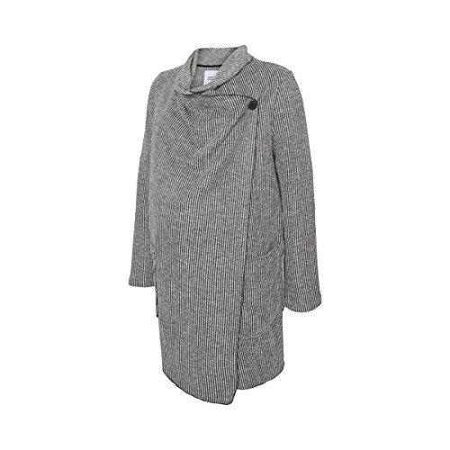 MAMALICIOUS Damen MLWRAPS L/S Woven Coatigan Umstandsmantel, Grau (Dark Grey Melange), 38 (Herstellergröße: M)