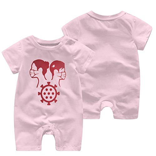 YANFAYUDIAN Together We Survived The C-oronavirus of 2020 Baby Short Sleeve Jumpsuit Baby Short Shirt Baby Romper Pink