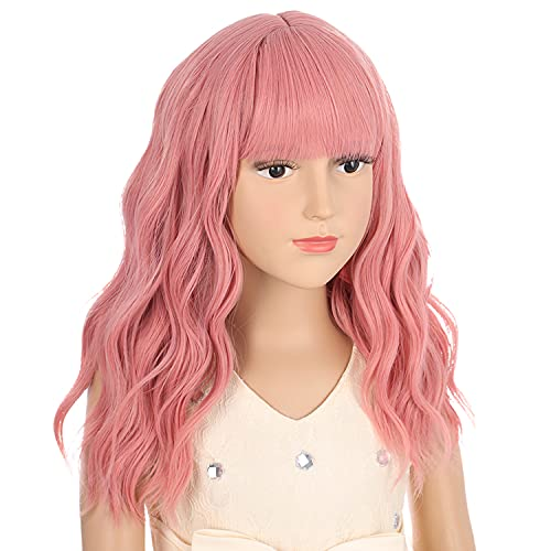 DUDUWIG Girl's Pink Wig with Air Bangs Short Curly Wigs Lovely Color...
