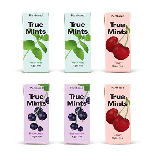 True Mints - 6er Set   PROBIERSET   2x Frische Minze   2x Schwarze Johanisbeere   2x Kirsche - pflanzliche und zuckerfreie Pastillen, 6 x 13g, 78 g