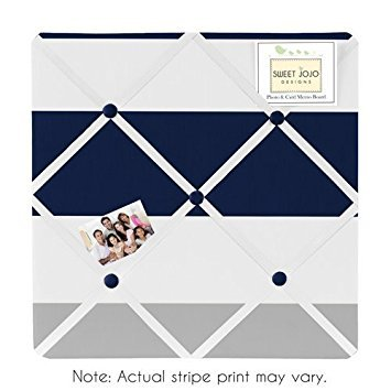 Navy Blue, Gray and White Fabric Memory/Memo Photo Bulletin Board for Stripe Collection