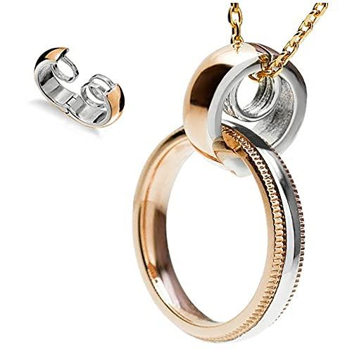 リングホルダー 指輪をネックレスに サージカルステンレス ステンレス メンズ レディース リング用 ペンダント チェーン別売り (ピンクゴールド)