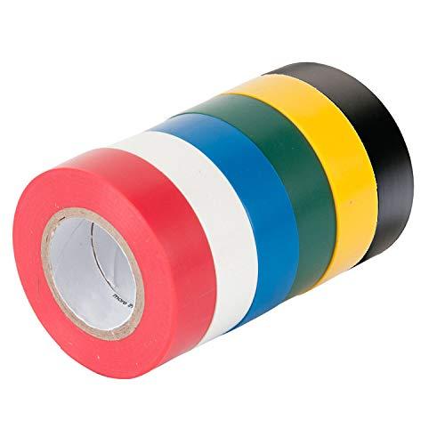 Paquete de 6 cintas adhesivas de aislamiento eléctrico de colores mixtos, 16 mm x 15 m, 90 metros en total