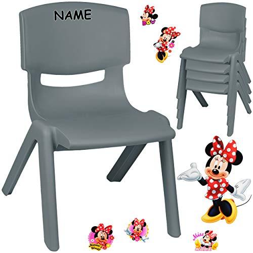 alles-meine.de GmbH Kinderstuhl / Stuhl - Motivwahl - grau - anthrazit + Sticker - Disney Minnie Mouse - inkl. Name - Plastik - bis 100 kg belastbar / kippsicher - für INNEN & AU..