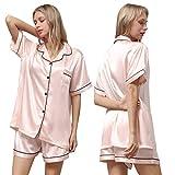 Ladieshow Pijamas Mujer Satén, Seda Pijamas Set Manga Corta Elegante y Moda Conjunto de Pijamas Camisón para Mujer, Ropa y Pantalones 2 Piezas Ropa de Dormir con Botones para Verano, Regalos Mujer