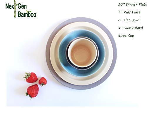 "Next Gen Bamboo 9"" Bamboo Kids Plate Set, Set of four Eco Friendly Bamboo Kids Plates :: Non Toxic, Safe for all :: Mix & Match :: Great Gifts :: Neutral :: Biodegradable (Stone, Natural)"