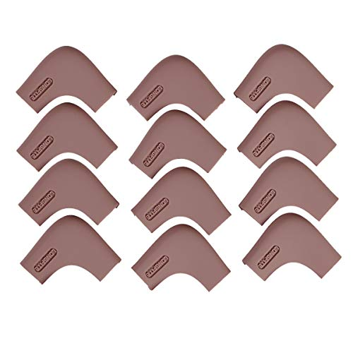 LONGFITE Corner Protectors and Edge Guards Baby Proof Corner Covers and Bumpers Cushion Food Grade Silicone Non-Choking Risk Chewing Safe with Strong Stickiness(Dark Brown 12 Pack, Corner)
