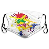 Windproof Activated Carbon mask, Red Haired Fitness Girl Colorful Ink Splatter Effect Rainbow Colors Splashed Design,Facial decorations for Unisex adults(3905