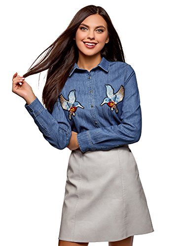oodji Ultra Mujer Camisa Vaquera con Parches, Azul, ES 36 / XS