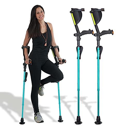 Ergobaum® Prime 7TH Generation by Ergoactives. 1 Pair (2 Units) of Ergonomic Forearm Crutches - Adult 5' - 6'6'' Adjustable (Aquamarine)