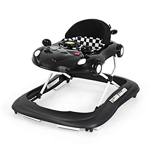 COSTWAY Andador para Bebé Altura Ajustable Plegable Silla con Música y Luz para Bebé de 6-18 Meses (Negro)