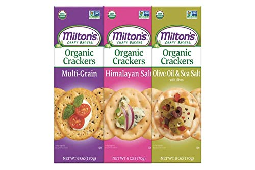 Milton's Organic Crackers, 3 Flavor Variety Bundle. Crispy & Organic Baked Grain Crackers (Multi-Grain, Himalayan Salt, and Olive Oil & Sea Salt, 6.0 Ounce).