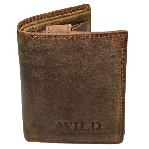 Vintage Wildleder Geldbörse Voll Leder Herren Portemonnaie Hochformat RFID Safe