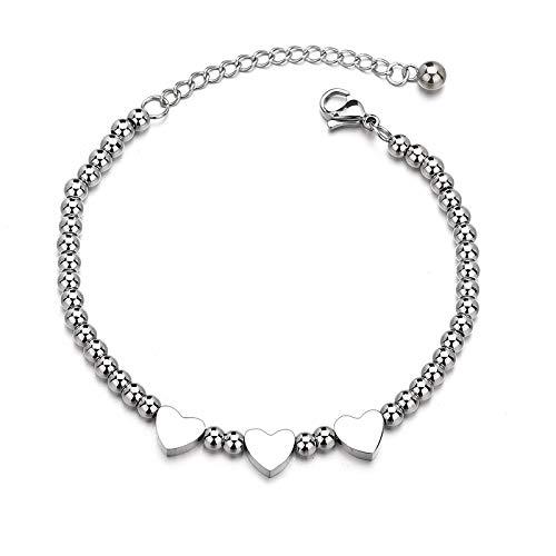 SENFEISM Pulsera personalizada de moda con nombre de la fecha del corazón de la cadena de acero inoxidable graba cuentas pulsera para mujeres niña regalo de cumpleaños
