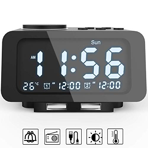 Alarm Clocks for Bedrooms, LED Digital Alarm Clock Radio with FM Radio, Dual USB Port for Charger, Dual Alarms, 5 Level Brightness Dimmer, Adjustable Alarm Volume, Best Gift for Men - Black