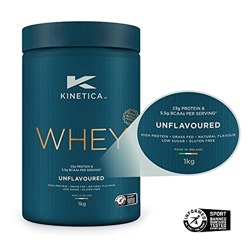 Kinetica Whey Protein Powder, 33 Servings, Unflavoured, 1kg. Low Carb, Grass Fed Whey. High Protein Source for Lean Muscle Growth