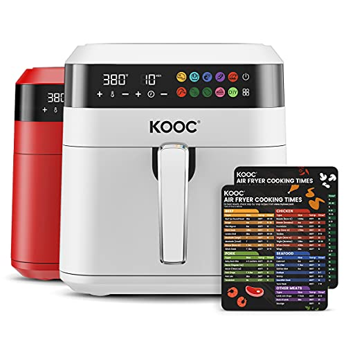 [NEW LANUCH] KOOC XL Large Air Fryer, 6.5 Quart Electric Air Fryer Oven, Free Cheat Sheet for Quick Reference, 1700W, LED Touch Digital Screen, 10 in 1, Customized Temp/Time, Nonstick Basket, White