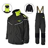 Navis Marine Sailing Jacket with Bib Pants for Men Women Waterproof Breathable Rain Suit Fishing Foul Weather Gear (Carbon, X-Large)