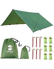Toldo Impermeble Lona para Tienda de Campaña Ligero Anti-Viento Anti-UV Toldo de Refugio Camping con 6 Estacas + 6 Cuerdas