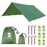 Toldo Impermeable Lona para Tienda de Campaña Ligero Anti-Viento Anti-UV Toldo de Refugio Camping con 6 Estacas + 6 Cuerdas 305cm*367cm Verde