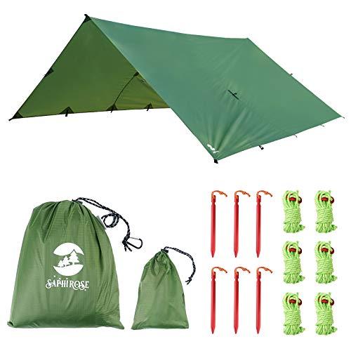 Toldo Impermeble Lona para Tienda de Campaña Ligero Anti-Viento Anti-UV Toldo de Refugio Camping con 6 Estacas + 6 Cuerdas 305cm*367cm Verde