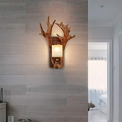 LFK Lámpara de pared retro de resina de cristal 34 x 45 cm, pasillo de pasillo, comedor, sala de estar, dormitorio, cama, luz cálida