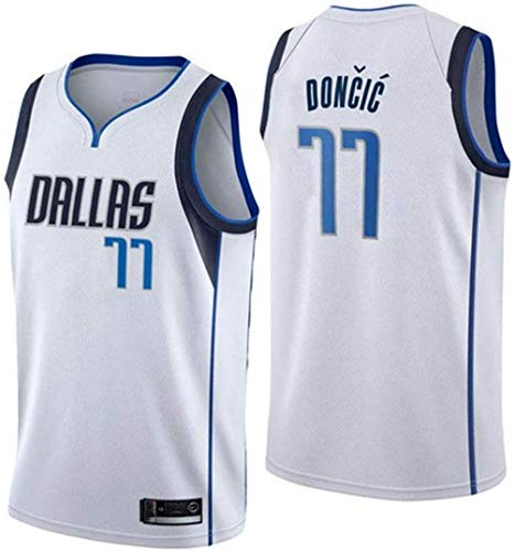 CspJersp Dallas Mavericks 77 Hombre Ropa de Baloncesto Doncic Jersey Camiseta de Baloncesto da Bordado (Blanco, M)