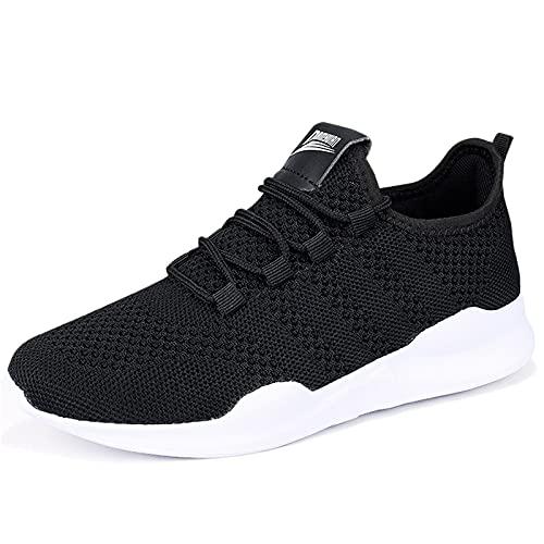 HIIGYL Schuhe Herren Sneakers Laufschuhe Turnschuhe Sportschuhe Leichtgewicht Atmungsaktiv, Schwarz, 44 EU