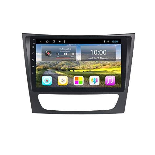 Radio de Coche de 9 Pulgadas en el Tablero Reproductor estéreo MP5 Android 8.1 Compatible con Benz E W211 (2005-2010), Pantalla táctil GPS 2.5D, BT, WiFi, Mirror Link, Sintonizador de Radio (RAM 2