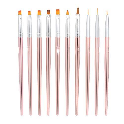 Anself Nagel Pinsel Set 10stücke gel pinsel gelnägel Malerei Zeichnung Liner Pen für UV-Gel- und Acrylfingernägel Mit Kappen