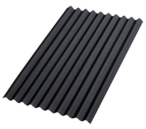 Bitumenwellplatten Set schwarz Compact: 8 Stück je 1000 x 750 mm und 200 Dachnägel verzinkt mit Dichtscheiben 2,8 x 70 mm