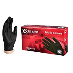 AMMEX Industrial Black Nitrile Gloves are constructed from lightweight 3 mil thick nitrile with fully textured grip, measuring 9.5 inches from fingertip to glove cuff. Industrial-grade nitrile gloves offer excellent elasticity, puncture resistance, a...