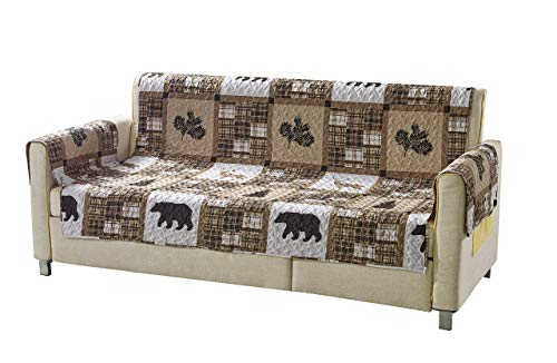Rustic Modern Farmhouse Cabin Lodge Quilted Couch Sofa Loveseat Armchair Chair Recliner Slipcover Patchwork of Wildlife Grizzly Bears Deer Buck Plaid Check Patterns in Taupe Brown Western-1 (Sofa)