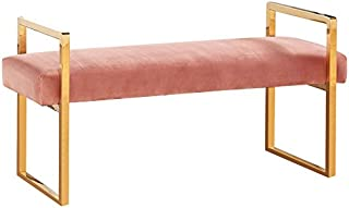 Meridian Furniture Olivia Collection Modern | Contemporary Pink Velvet Upholstered Bench with Gold Stainless Steel Legs, 43