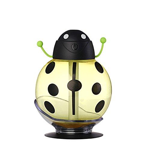 Frcolor Vapor frío humidificadores escarabajo humidificador 260ML Mini USB aire ambientador purificador fabricante de la niebla para el hogar maquillaje viaje coche (amarillo)