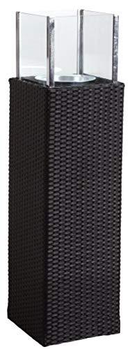 AUBRY GASPARD Photophore d'extérieur Noir en résine et Verre Hauteur 115 cm
